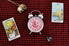 Lucky Time. CLOCK with THE SUN & THE STAR. Gypsy Tarot accessories predict luck augur seer horoscope Stock Image