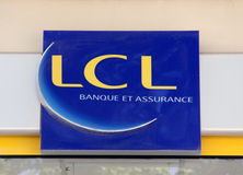 LCL bank in Paris, France. Paris, France-June 20, 2016: sign of the LCL bank in Paris, France Royalty Free Stock Image