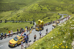 LCL Caravan. Col de Peyresourde,France- July 23, 2014: LCL caravan on the road to Col de Peyresourde in Pyrenees Mountains during the passing of the Publicity Royalty Free Stock Photography