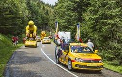 LCL-Caravan tijdens Le-Ronde van Frankrijk 2014 Royalty-vrije Stock Afbeeldingen