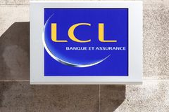 LCL or Credit Lyonnais logo on a wall. Lyon, France - September 20, 2017: LCL or Credit Lyonnais logo on a wall. Credit Lyonnais is a historic French bank and Stock Photo