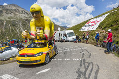 LCL Vehicle in Alps - Tour de France 2015. Col du Glandon, France - July 24, 2015: LCL characteristic vehicle during the passing of the Publicity Caravan on Col Stock Photos