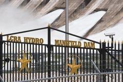 LCRA Mansfield Wodna tama zakazujący wejście Zdjęcia Stock