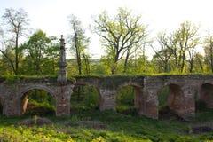 Ld毁坏了在冯Derviz村庄Kiritsy梁赞地区俄罗斯豪宅的桥梁  免版税库存照片