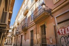 0ld centrum van Valencia met de bouw van San Nicolas College Royalty-vrije Stock Foto's