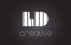 LD L lettre Logo Design With White de D et lignes noires Image libre de droits