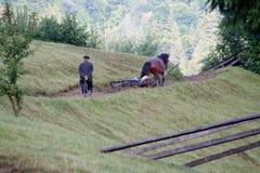 ld-Mann, der einem Pferdewagen in den Bergen folgt stockbild