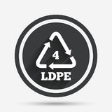 Ld-pe 4 sign icon. Low-density polyethylene. Ld-pe 4 icon. Low-density polyethylene sign. Recycling symbol. Circle flat button with shadow and border. Vector Stock Photos