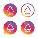Ld-pe sign icon. Low-density polyethylene. Ld-pe icon. Low-density polyethylene sign. Recycling symbol. Gradient buttons with flat icon. Speech bubble sign Royalty Free Stock Photo