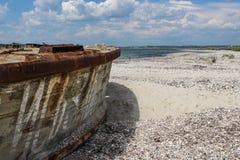 Оld ship, beached the Sea of Azov Royalty Free Stock Photos