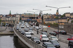 Ld Town (Gamla Stan) in Stockholm and traffic near Slussen Stock Images