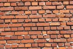 Ld-Wand vom roten Backstein Ziegelstein des roten Lehms Rot mit weißer Verbindung Die alte zerbröckelnde Backsteinmauer Ziegelste Lizenzfreie Stockfotografie