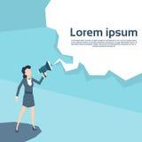Líder Loudspeaker de la mujer de negocios del espacio de Hold Megaphone Copy de la empresaria Fotos de archivo