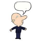 åldras man för tecknad film förvirrad mitt med anförandebubblan Arkivbild