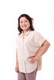 Åldrig asiatisk kvinna för lycklig mitt Arkivbild