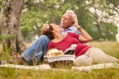 Åldringen kopplar ihop den höga mannen och kvinnan som gör picknicken Arkivfoton