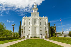 LDS摩门教堂在圣乔治犹他 库存图片