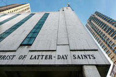 LDS教会在曼哈顿 库存照片