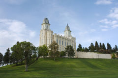 LDS Manti Utah Temple. Manti Utah Temple of The Church of Jesus Christ of Latter-day Saints, built in 1888.  Dusk is approaching with a hint of rain Royalty Free Stock Photo