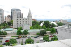 LDS Temple. Square in Salt Lake City taken from top of conference center Royalty Free Stock Image