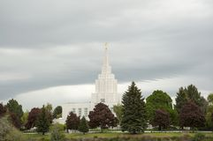 LDS Temple in Idaho Falls near Greenbelt Royalty Free Stock Image