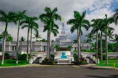 LDS Temple in Kona, Hawaii. Mormon temple with Moroni statue on the spire Stock Image