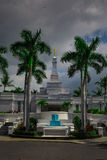 LDS Temple in Kona, Hawaii. Mormon temple with Moroni statue on the spire Royalty Free Stock Photo