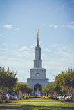 LDS Temple. Sacramento LDS Temple kissing the blue sky stock images
