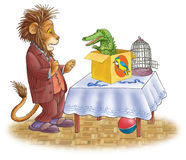 Leão amedrontado e o crocodilo. Imagens de Stock