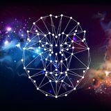 Leão animal do tirangle poligonal abstrato no fundo do espaço aberto Imagem de Stock