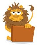 Leão bonito e um sinal em branco ilustração stock