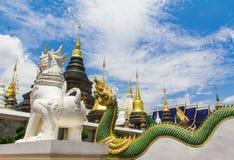 Leão branco e naga que guardam o pagode, Chiang Mai Fotos de Stock