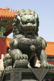 Leão chinês do guardião - a Cidade Proibida - Pequim - China Foto de Stock Royalty Free
