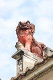 Leão chinês do guardião. Lin Kai Temple em Macau fotografia de stock royalty free