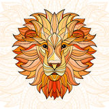 Leão colorido detalhado no estilo asteca Fotos de Stock Royalty Free