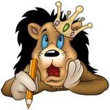 Leão com lápis ilustração do vetor