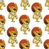 Leão com um teste padrão sem emenda sorrir forçadamente toothy de queijo Fotografia de Stock
