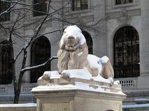 Leão da biblioteca pública de New York no inverno Imagens de Stock Royalty Free