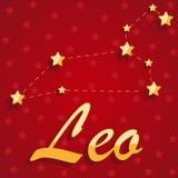 Leão da constelação sobre o fundo estrelado vermelho fotos de stock