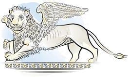 Leão da cor de desenho com asas Fotos de Stock Royalty Free