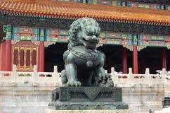 Leão de bronze real de China Fotografia de Stock