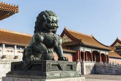 Leão de cobre atrás ao Salão da harmonia suprema Foto de Stock Royalty Free