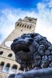 Leão de pedra pelo vecchio do palazzo Fotos de Stock