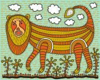 Leão decorativo enorme ilustração royalty free