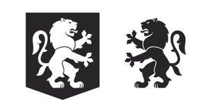 Leão desenfreado heráldico preto ilustração royalty free