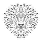 Leão detalhado no estilo asteca Cabeça modelada no fundo Projeto indiano africano da tatuagem do totem Vetor Fotos de Stock Royalty Free