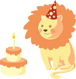Leão do feliz aniversario Imagens de Stock Royalty Free