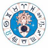 Leão do sinal do zodíaco uma menina bonita horoscope astrology Vetor ilustração stock