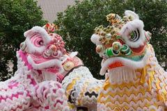 Leão, Dragon Dance em Hong Kong, China fotografia de stock royalty free