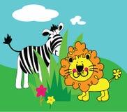 Leão e zebra s Imagens de Stock